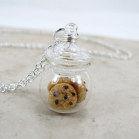 Chocolate Chip Cookie Jar Necklace Miniature Food by CuteAbility