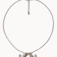 FOREVER 21 Mustache Charm Necklace Silver One
