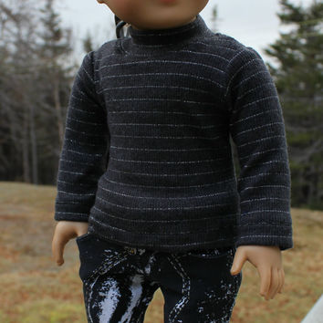 grey ribbed knit shirt and black and white skinny jeans 18 inch doll clothes american girl maplelea