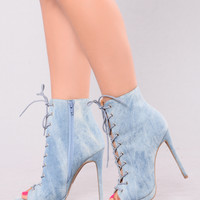Demi Denim Lace Up Heel Bootie - Light Denim