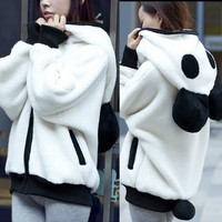 Ball-shaped Tail Cute Panda Style Womens Hoodies Outwear Sweats Zipper Pockets (Size: M) = 1932596804