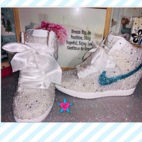 Dunks - Mail In - Custom White Pearl and Rhinestone Wedding Sneakers