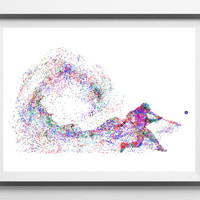 Baseball player watercolor print baseball hitter batting in a game poster sport art baseball hit wall decor baseball batter print [918]