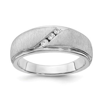 14K White Gold Brushed & Polished 3 Stone Diamond Men's Band