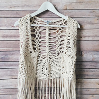 Journey Beige Crochet Vest