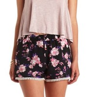 Crochet-Trimmed Printed High-Waisted Shorts - Multi