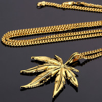 NYUK New Gold Silver Hemp Leaf Pendant Necklace Men Women Charm Gold Plated Weed