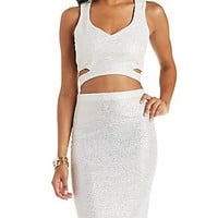 METALLIC CROPPED TANK WITH CUT-OUTS