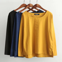 Plain Long-Sleeve Asymmetrical Shirt