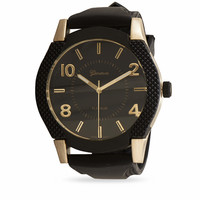 Black and Gold Silicone Men's Watch