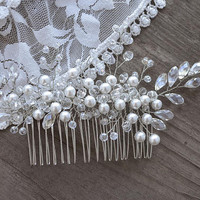 Bridal Hair Comb, crystal hair comb, weddig hair piece, bridal hair jewelry, wedding hair comb, Crystal Pearl Hair Comb, Pearl hair jewelry