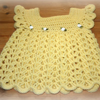 Pretty lemon yellow Etsy baby crochet lace dress acrylic 3 months girls dresses & clothing capped sleeves crochetyknitsnbits shower gifts