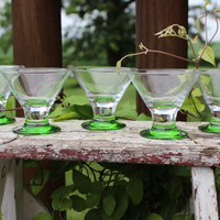 5 Retro green Libbey liquor cordials, MOD green base 2 ounce shot glasses - vintage barware, MOD whiskey shooter glasses, liquor cordials