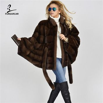 2020 New Women Winter Real Brown Mink Fur Coat Fashion Bat sleeves New Luxury For Female Natural Fur Shawl