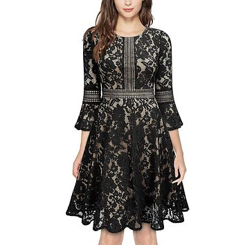 Vintage Inspired Bell Sleeve Lace Cocktail Dress, US Sizes 0 - 20  (Black Dress)