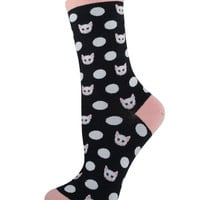 Socksmith Socks Meow-ka Dot Crew Dusty Rose 1pair