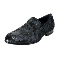 Versace Men's Embellished Leather Loafers Slip On Shoes Sz US 11 IT 44
