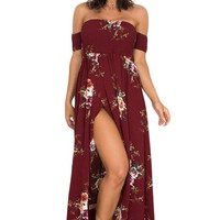 Smoked Off The Shoulder Burgundy Floral Maxi Dress