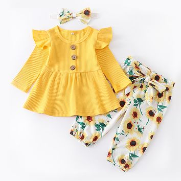 Autumn 3Pcs Newborn Baby Girls Clothes Set Fashion Long Sleeve Cotton Tops Floral Pants Headband Cute Infant Toddler Clothing
