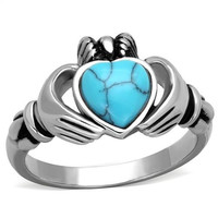 Irish Claddagh Turquoise Heart Stainless Steel Ring