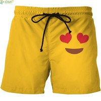 Cute Red Love Eyes Smiles Print Men Summer Beach Shorts Quick Dry Short Pants Plus Size S-4XL Surf Shorts Yellow Mesh Short Pant