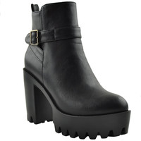 Womens Ankle Boots Lug Sole Chunky Heel Buckle Casual Shoes Black