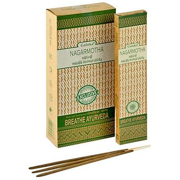 Goloka Nagarmotha Natural Masala Incense - 15 Gram Pack (6 Packs Per Box)