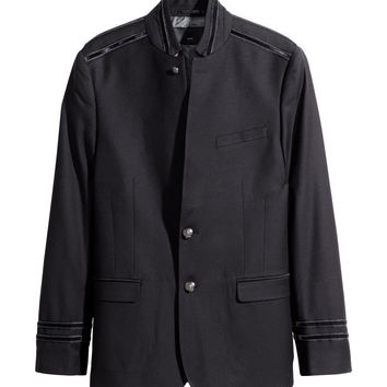 H&M - Blazer with Stand-up Collar - Black - Men