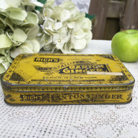 Antique Rich's Canton Ginger Tin Litho Box, Decorative Advertising Canister, pharmacy medical quack tin, hinged lid, Gold kitchen storage