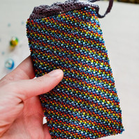 Sparkling rainbow beaded phone pouch Crochet iphone case Iphone7 knitted bag Samsung phone pouch Unisex gift Stress relief colorful gift