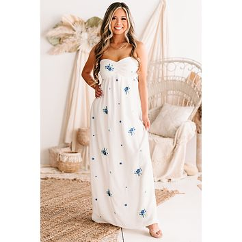 Caught By Surprise Strapless Floral Embroidered Maxi Dress (White/Multi)