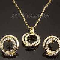 HOT SALE Womens Pendant Necklace Earrings Set Crystal Gold Plated Free Gift Box