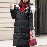"""""""Adidas"""" Women Casual Fashion Middle Long Section Hooded Fur Collar Long Sleeve Cardigan Cotton-padded Clothes Bread Service Coat"""