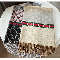 GG Wool silk long and generous double-sided shawl tassel jacquard thermal scarf