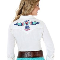 Wrangler Women's Long Sleeve Thunderbird Snap Shirt - Cream