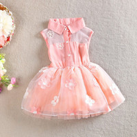 Kids Gilrs Chiffon Cute Floral Dress Princess One Piece Formal Party Dress 1-4Y NW