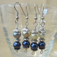 Handmade Two-Tone Double Pearl & Silver Dangle Earrings, Wedding, Classic, Elegance, Sophisticated, Style, Fashion Jewelry