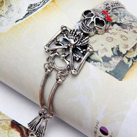 2015 New Vintage hot Rock Gothic Punk Double Skeleton Skull Bangle Bracelet = 1706179588