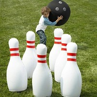 Novelty Place Giant Inflatable Bowling Set for Kids Outdoor Lawn Yard Game Ball