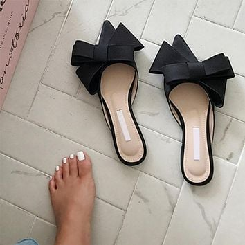 Women's Shoes Silk Satin Pointed Bow Tie Slippers Baotou Flat Heel Sets Semi Slippers