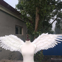 High quality white Angel feather fairy wings Wedding Bar Stage show decorations Halloween COS props Pure handmade
