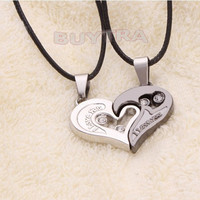 Stylish His and Hers Stainless Steel Heart Pendant Couples Love Necklaces = 1930213252