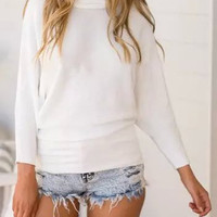 White High Neck Long Sleeve Knitted Sweater