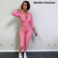 Women Casual Fashion Pink/Black Striped Long Sleeve V-Neck Bodycon Jumpsuit