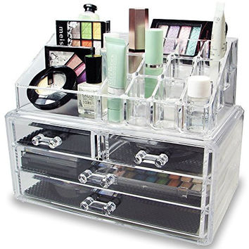 ROXY DISPLAY® Acrylic Jewelry & Cosmetic Storage Display Boxes Two Pieces Set(AD-DQ1155-JW)