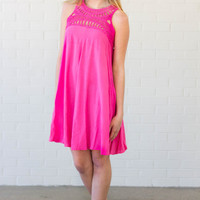 Color Pop Crochet Dress- Pink