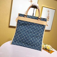 HCXX 19June 402 Louis Vuitton LV Denim Collection High-capacity Handbag 33-3-37cm blue