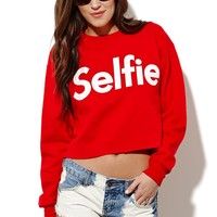 Petals and Peacocks Selfie Cropped Fleece - Womens Hoodie - Red -