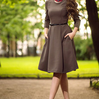 Mocha Dress Midi, casual dresses, short sleeve dress, suiting fabric , bodycon midi dress, trendy womens clothing, spring, autumn dress