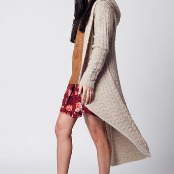 Beige longline cable knit open cardigan with hoodie